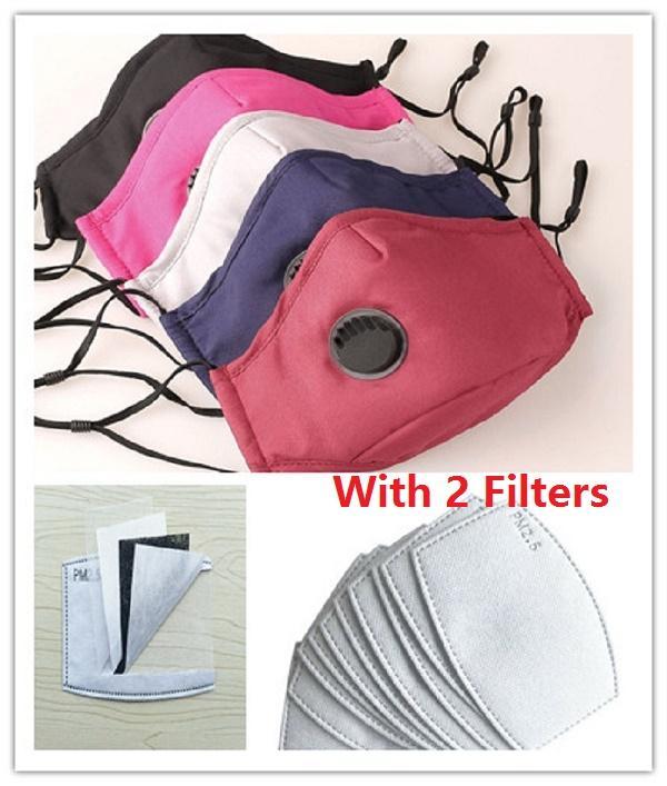2adet Filtre Nefes Ağız Maskeleri Anti Toz Yeniden kullanılabilir Kat Tasarımcı Maske ile Havalandırma Vanalı Yeni Koruyucu Maske