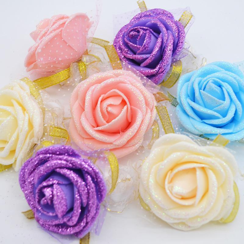 10pcs Rose Wrist Corsage Sisters fleurs de demoiselle d'honneur de main artificielle mariée fleurs pour soirée de mariage décoration nuptiale de bal
