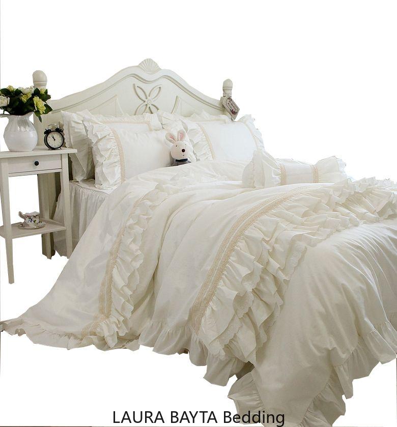 insieme coreano crema bianca letti di lusso Imposta Re Queen Size copripiumino Bedskirt federa Set Cake Pizzo principessa Cotton Bedding 4 pezzi