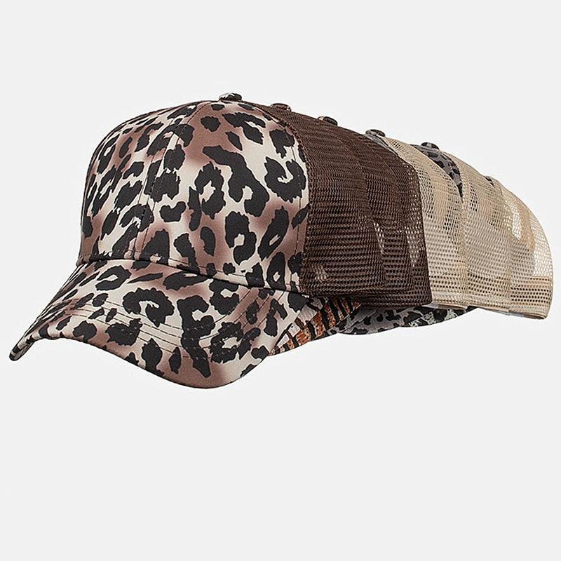 Женщины хвостик Visor Cap Leopard Tiger Stripe Print бейсболки Hat Назад Hole Casquette Snapbacks Девушки хвощ Шляпы регулируемая крышка