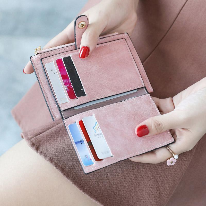 محفظة جديد إمرأة الصغيرة سيدة البسيطة محفظة جلدية قصيرة BIFOLD محفظة RFID حجب مع ويندوز ID