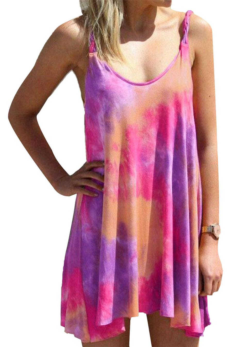 Women Tie-dyed Casual Dress Scoop Neck Summer Beach Cover-Ups 50% Spaghetti Straps Fashion Apparel A-Line Leisure Mini Dress
