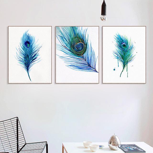 Hermoso azul pavo real del cartel A4 nórdica arte de la sala Impresión de la pared del hogar del cuadro Pintura lona de la decoración No Frame