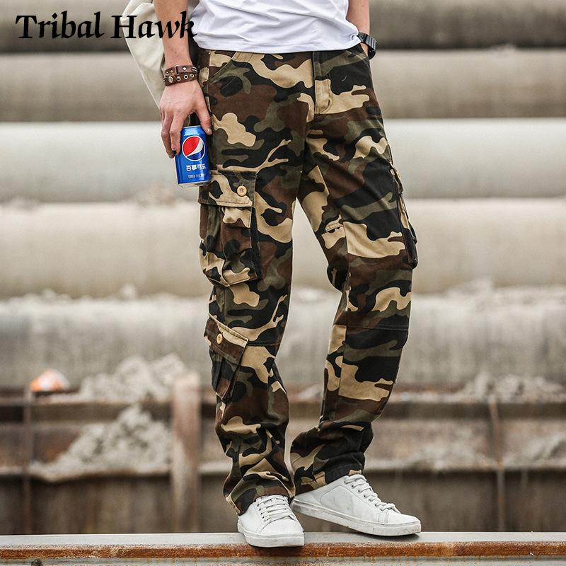 Грузовые штаны Мужчины Камуфляж Тактические брюки Army Combat Style Одежда Мужской Jogger Мульти Карманные Camo Брюки