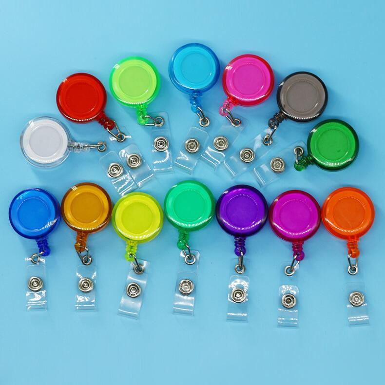 Durable ID Card Clip Holder Name Tag Card Key Badge Reels Round Solid Work Card Clasp Colorful Clip-On Retractable Pull Reel