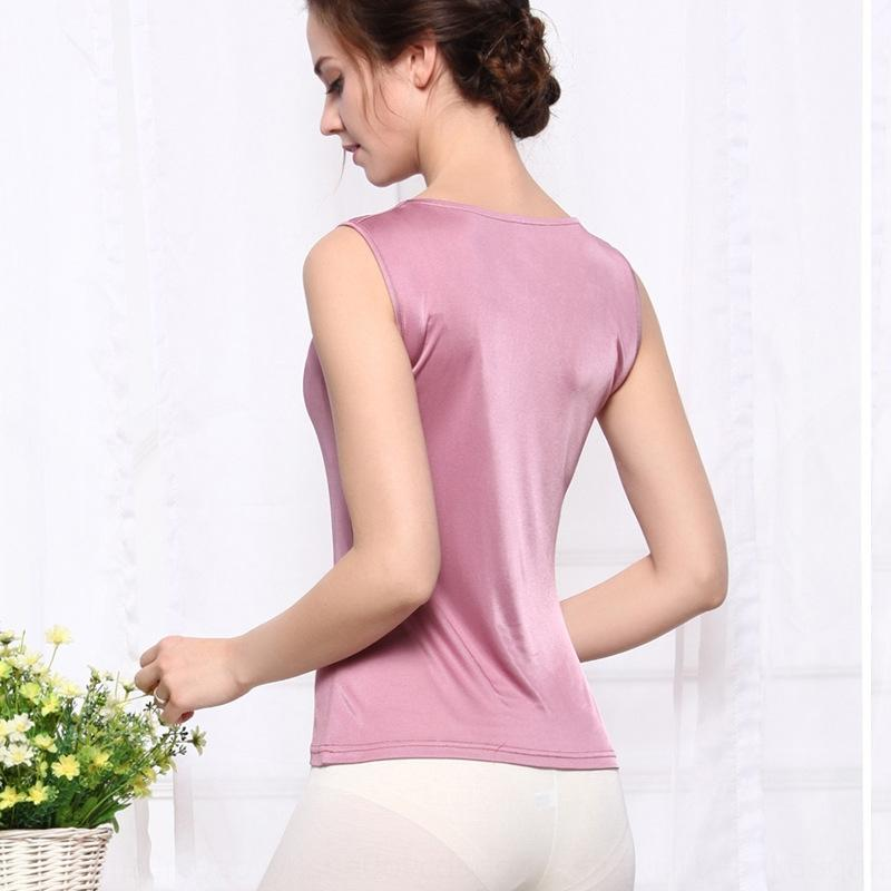 GYeWf New amoreira Sling Vest dupla face malha camisa de seda colete sem mangas estilingue base de colar das mulheres de seda T-shirt de balanço