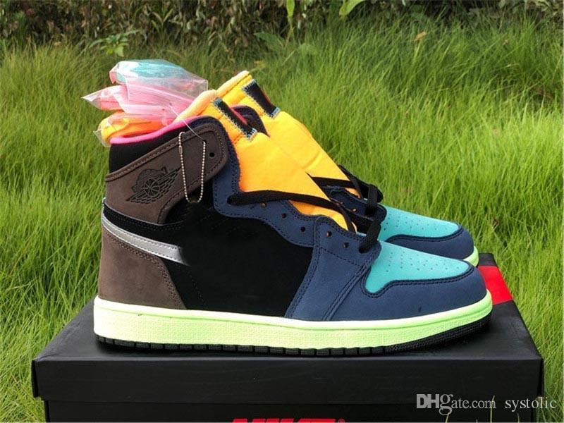 2020 Authentic 1 High Olimpiadi Bio Hack barocco Brown / Black-Laser Arancione-Racer Rosa Uomini scarpe da basket scarpe da tennis di sport con la scatola originale