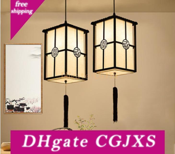 New Chinese Black Iron Pendant Lights Simple Restaurant Living Room Club Lamps Japanese Pendan Lamp Bird Cage Hanging Lamp