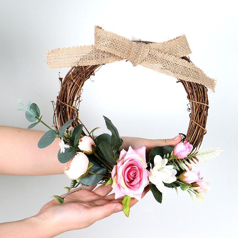 Rosa fiore artificiale Corona con Lino Bowknot decorazioni domestiche Accessori decorazione della festa nuziale artificiale attaccatura di parete Rosa Corona
