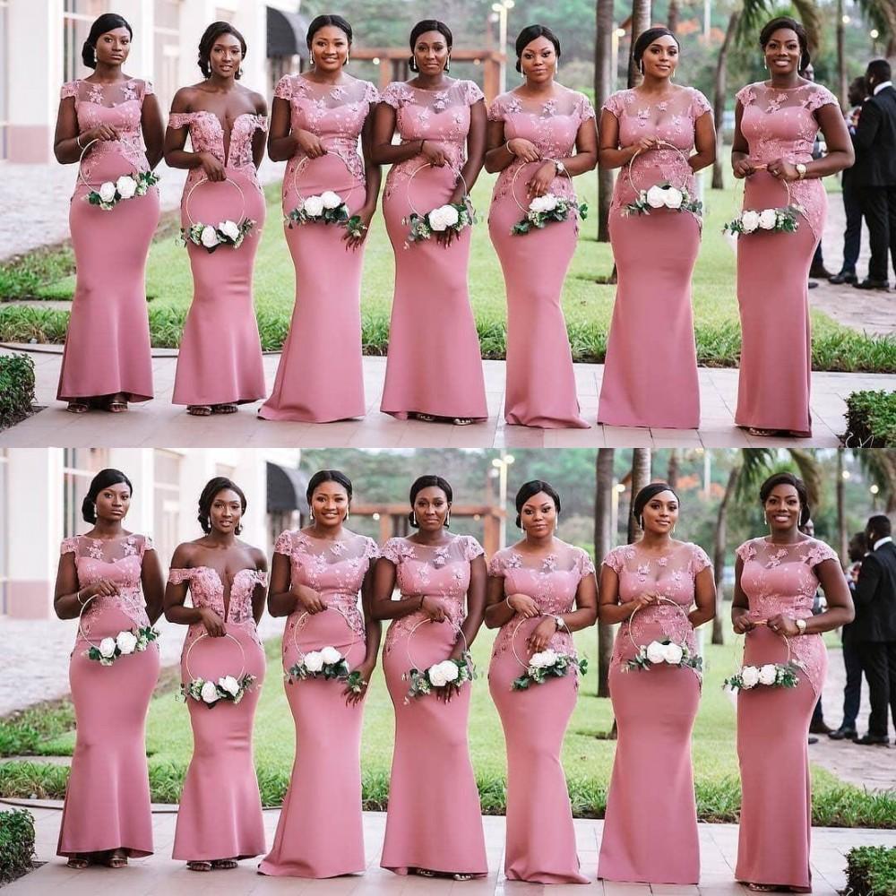 Cheap rosa Africano dama de honra Vestidos Jewel Alças Mermaid Lace apliques Cetim Backless Andar do casamento do comprimento dos visitantes da madrinha de casamento vestido