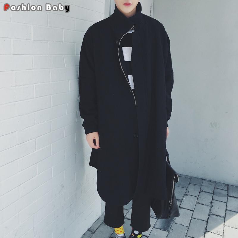 Batwing Sleeve X-давно рыхлой Мужская Черный шерстяной плащ Уникальный мода Осень Зима Марка Теплый Outwear Пальто 2020