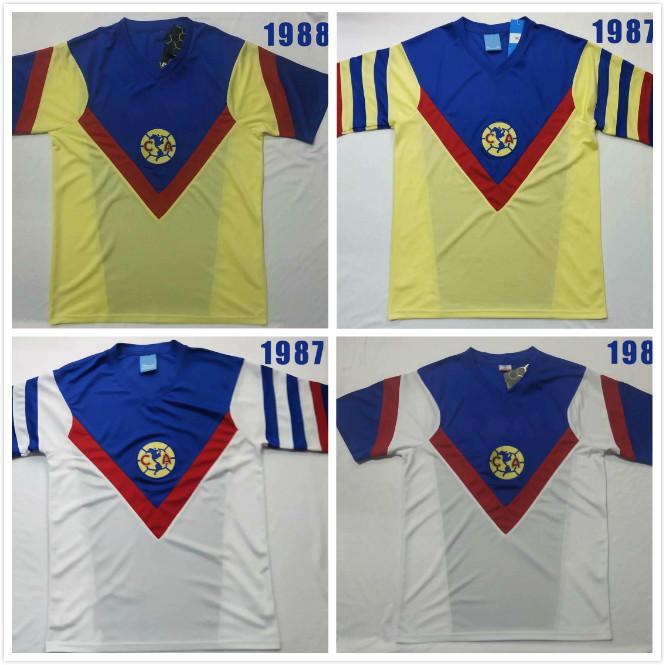 1987 1988 Retro Club México América Casa Amarelo Futebol Jerseys 87 88 Away Branco Camisa de Futebol Retro Clássico