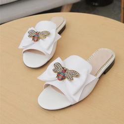 zapatillas de moda de lujo Mujer de verano grande de la historieta cabeza de playa Zapatillas de cuero del diseñador sandalias planas hotel metal zapatillas de abejas de tamaño grande 35-42