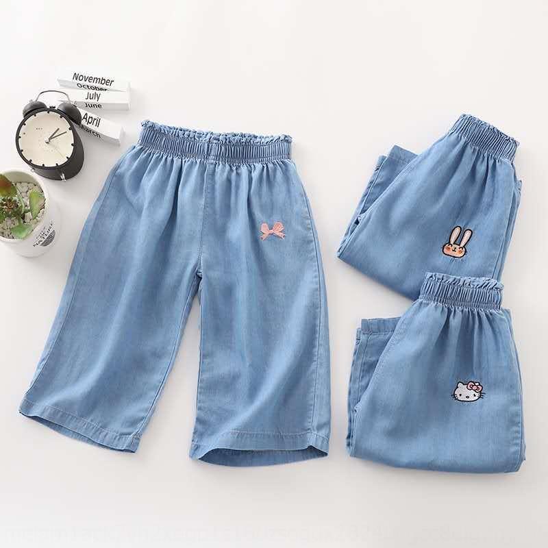 Denim ricamato sottile estate 100-140 ragazze morbida pantaloni larghi del piedino di Tencel cotone denim pantaloni larghi del piedino 1509