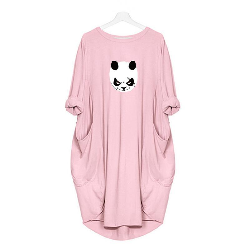 Fashion Designer Women Printing Cute Animal Pocket Loose Dress Vintage Fall Clothes Party Casual Plus Size 5XL Wholesale
