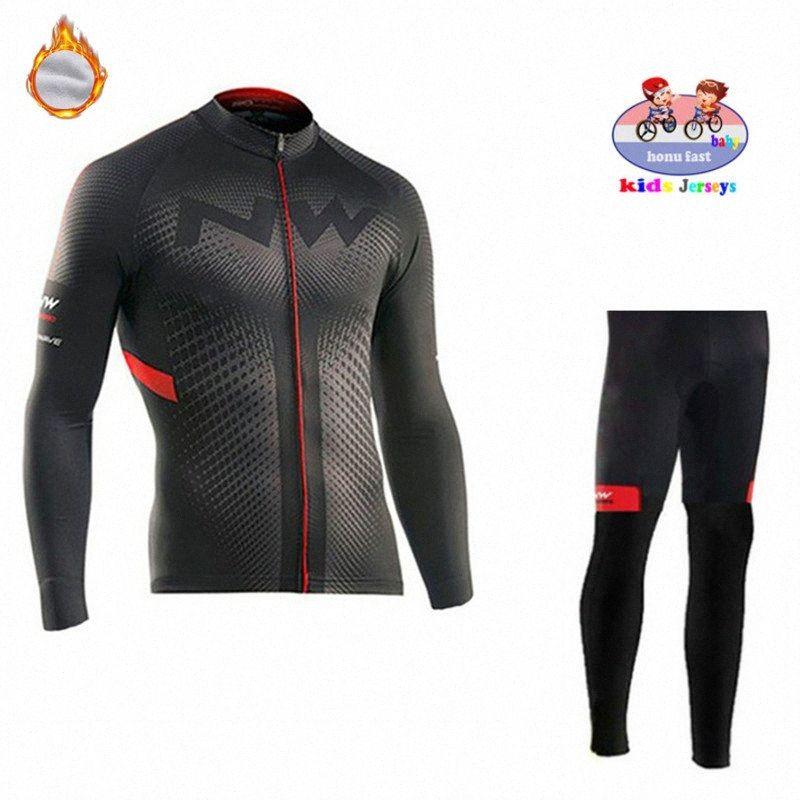 NW Kids 2020 Winter Thermal Fleece Cycling Jersey Set Boys Jersey Suit Sport Riding Bike MTB Children Cycling Clothing Long Pant jxdV#