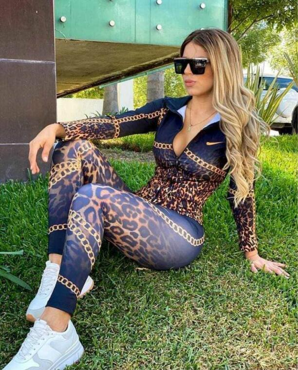 2020 Sexy chain Print Long sleeved tracksuit Women Two Piece Sets fashion sports suit casual Jogging suit S-XXL Multi-style
