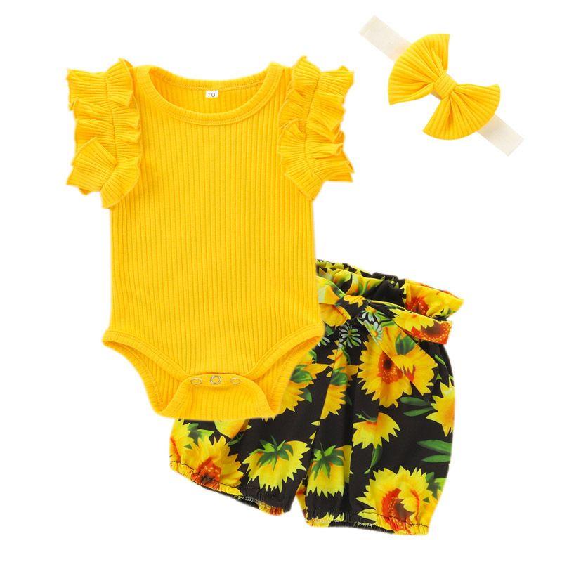 Bebek Çiçek Kıyafetler Bebek 3 Renkler Kız Katı Bebek Romper Toddler Çiçek Baskılı Elastik Pantolon Kafa 3-18 M 060721