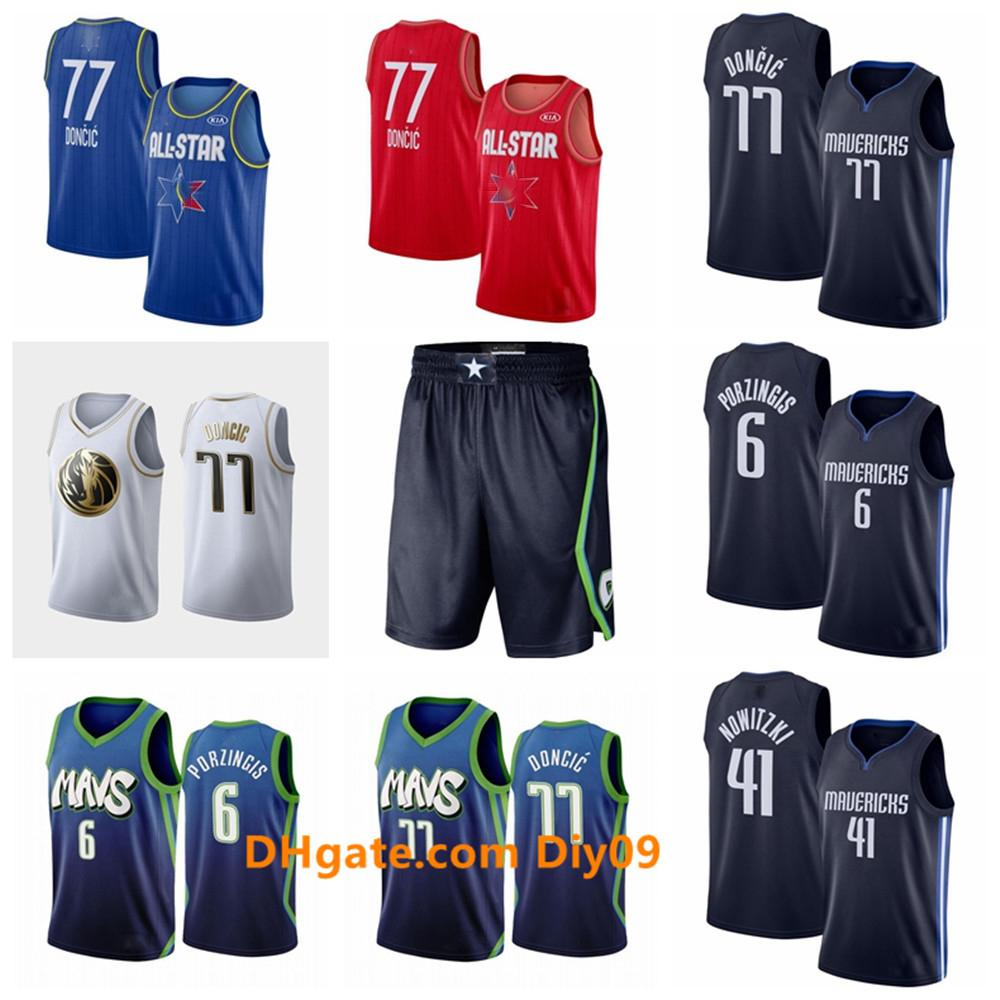 2020 Tuttostella DallasMavericksLuka 77 Doncic Jersey Kristaps 6 Porzingis Dirk Nowitzki 41 Città Navy Edition Basketball Maglie