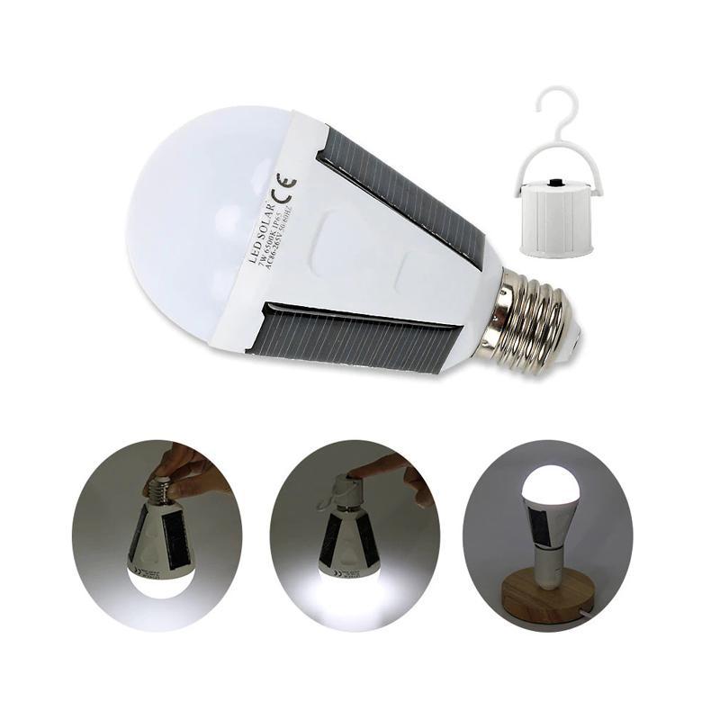 Güneş Paneli Işıklar Ampul LED Powered Işık Taşınabilir Su geçirmez Acil Ampul 7W 12W 1200mAh Beyaz CRESTECH