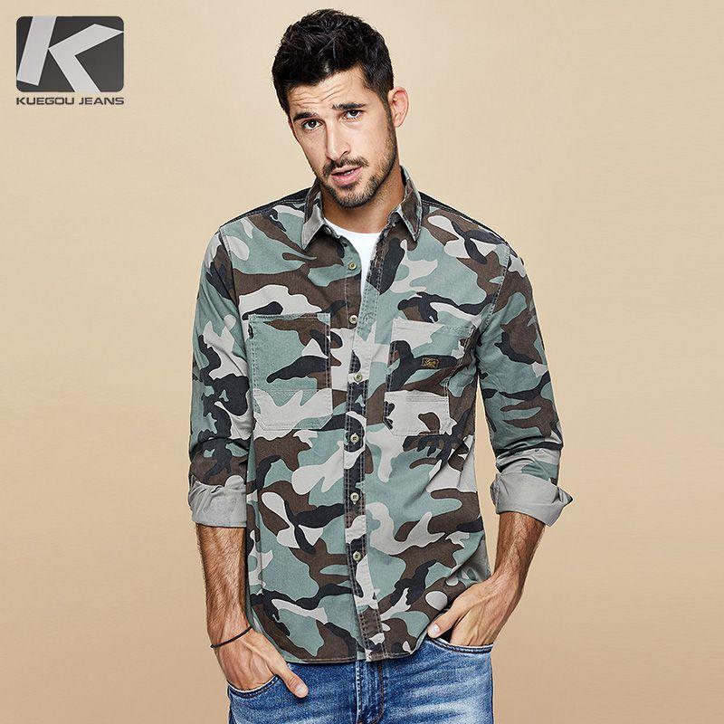 KUEGOU 2020 Autumn Cotton Camouflage camisa dos homens vestido Casual Slim Fit manga comprida por Homem Moda Marca Blusa 6112