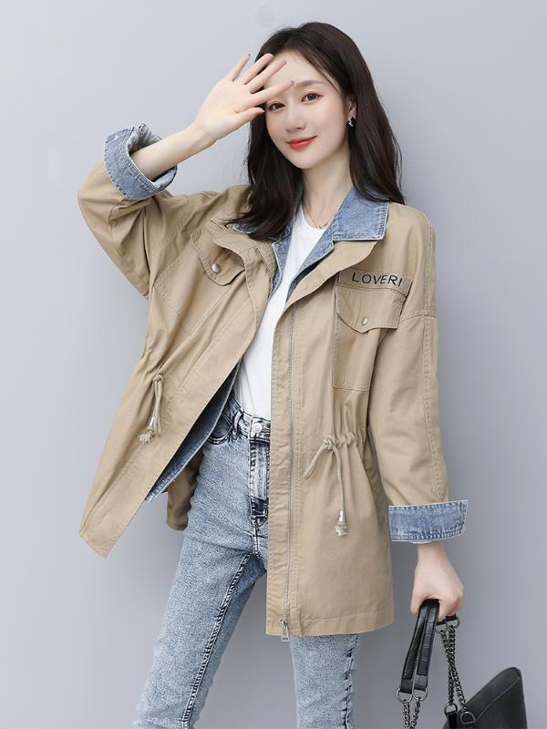 Gefälschte zweiteiliger langer Abschnitt Herbst und Herbst koreanische Version der neuen beiläufigen lose Taille Jeansjacke Windjacke Frauen