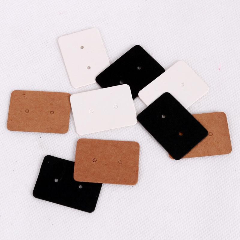 500pcs 2.5x3.5cm blanc Cartes papier kraft boucle d'oreille étiquette de coup de bijoux d'affichage oreille Cartes Stud Étiquette Tag Faveur Blanc Noir Brun Couleur