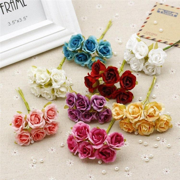 Düğün Dekorasyon Scrapbooking Dekoratif Çelenk DIY Craft Çiçek sZdf için # 6adet / çok 2cm İpek Yapay Gül Çiçek Buket