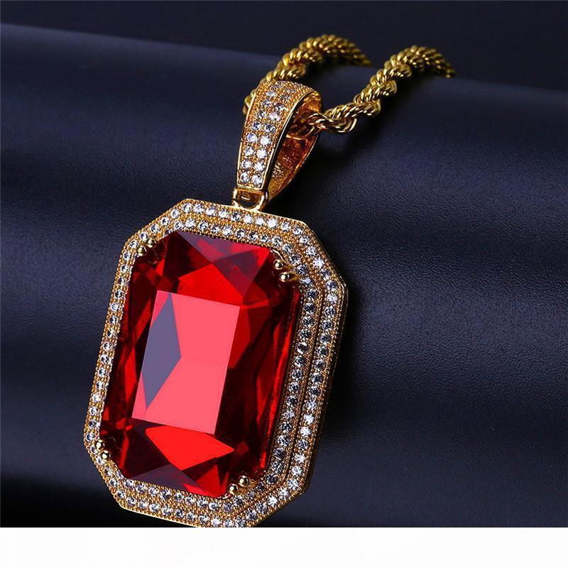 Zircon Hiphop Pendentif de rubis Collier pour les hommes en or 18 carats Hip Hop Bijoux Ice Out Big Gem Colliers