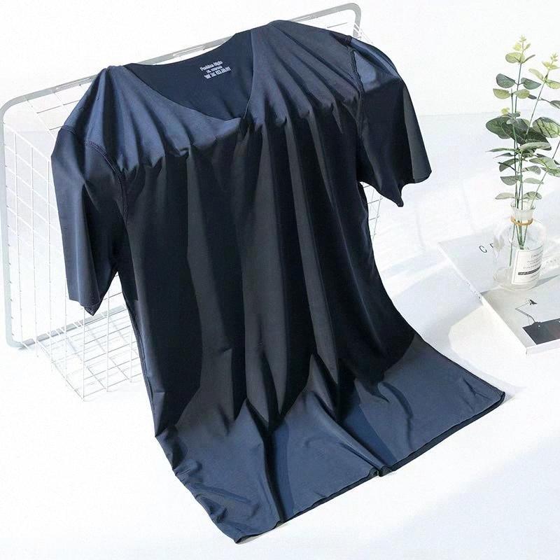 sans soudure soie glace hommes T-shirt col V col rond manches courtes de sport de jeunesse mince demi-manches chemise talonnage section mince tYuA #