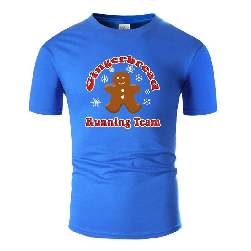 Crear Moda de pan de jengibre Running Team Navidad divertida camiseta para hombre del algodón O-Cuello masculino hombres camisetas más el tamaño S-5XL