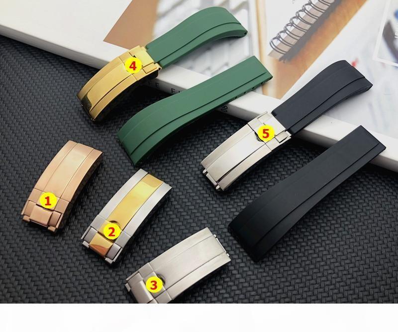 Qualität Grün Schwarz 20mm Silikongummiuhrenarmband-Uhrenarmband für Rollenband GMT OYSTERFLEX Armband-Logo