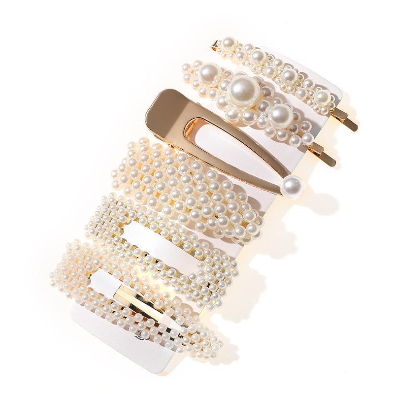 3/5/6pcs Fashion Pearl Imitation Beads Clip for Women Elegant Korean Design Snap Barrette Stick Hairpin Hair Styling Access