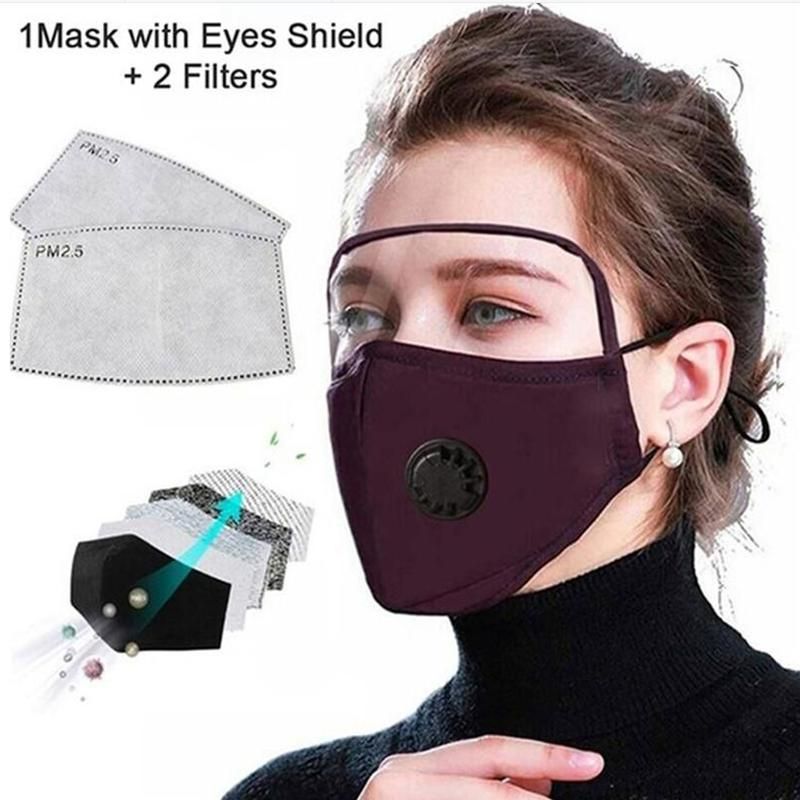 Лицо yya184 Маска Глаз с многоразовой маской Маска для лица Хлопковая пылезащитная сторона с щитом Защитный циклический щит Моющийся XGXF