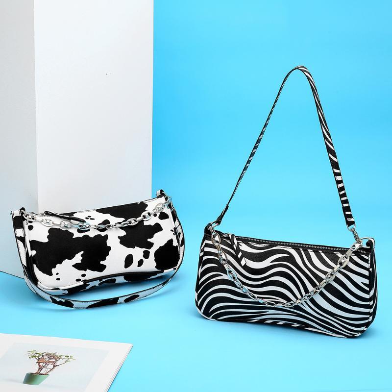 Bolso caliente Mujer Pequeña Subaxilar Retro Venta de Hombro PU Bolso de Hombro Moda Compras Zebra Tote Cuero Bolsa de vaca Bolsas Mujer LWKWS