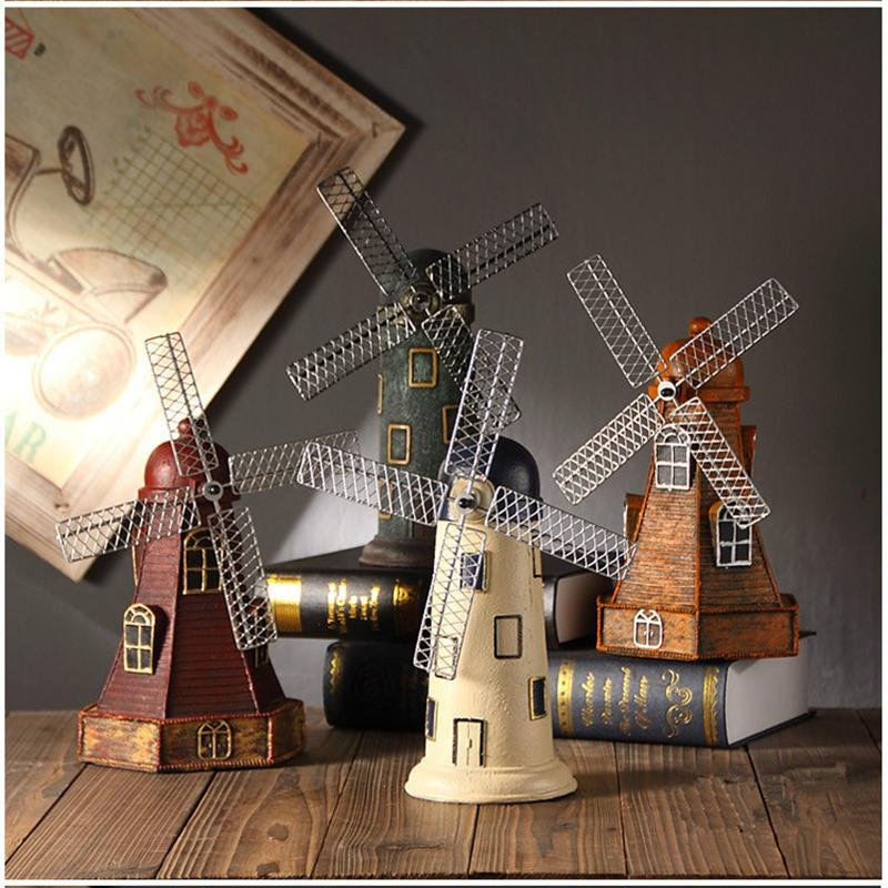 4 Colors Vintage Resin Windmill Ornaments Piggy Bank Dutch windmill Home Decor Ornaments Europe Models Gifts Furnishing Articles T200331