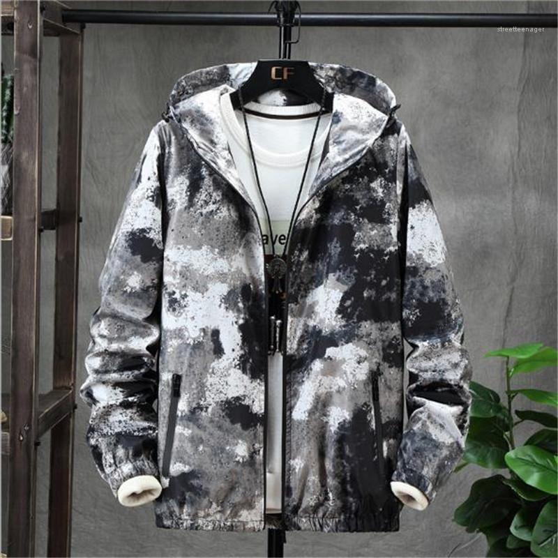 Abrigos de camuflaje Imprimir otoño para hombre chaquetas con capucha de manga larga camisas de fuerza ocasionales flojos del diseñador para hombre del invierno del color del contraste masculino