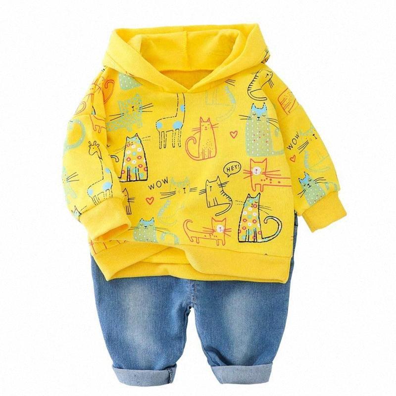Nova Primavera Outono Bebés Meninos Meninas Roupas Crianças Cotton dos desenhos animados Hoodies Calças 2Pcs / conjuntos Criança Moda Costume Crianças Treino whv7 #