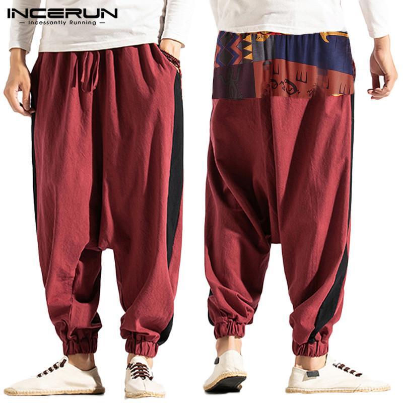 Hombres Harem Joggers impresos algodón del remiendo de lino holgada gota-entrepierna de los pantalones de los hombres 2020 Casual Streetwear pantalones S-5XL INCERUN T200728