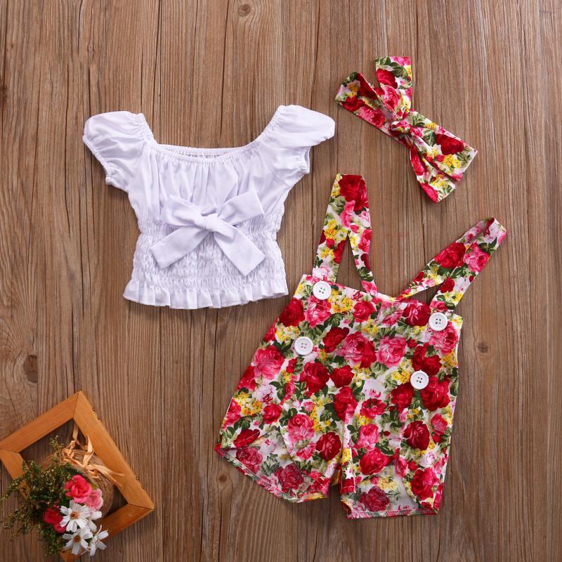 3шт / набор для новорожденных малышей Девочки Одежда Установить Белый с плеча лук майка + цветок Комбинезоны Брюки + оголовье Эпикировка лето
