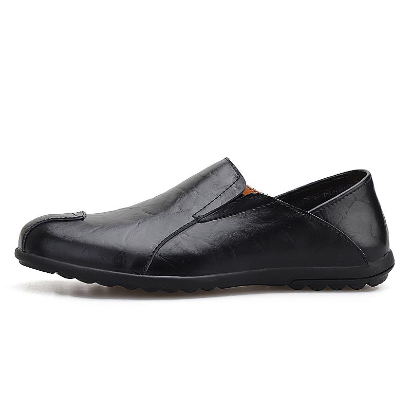 Echtes Leder-Mann-beiläufige Schuh-Sommermens Loafers Mokassins breathable Beleg auf Schwarz Driving Schuhe Herren Plus Size 37-47