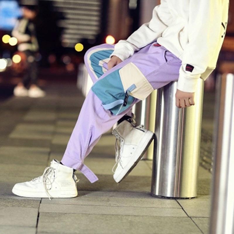 Calças fita roxa Men bolso de carga Drawstrings trilha tornozelo comprimento Hip Hop Harem Joggers Pants Man solta Calças Harajuku Pant