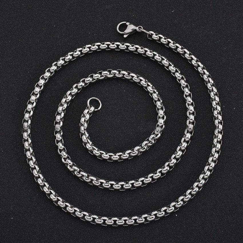 3mm Gold O Ring Chains Necklaces For Men Titanium Square Ring Chain Necklace Jewelry wholesale Free Ship- 0925WH