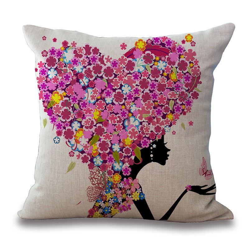 Любовь Цветы наволочка Подушка Обложка белье хлопок Бросьте Наволочки живущей комнаты украшения дома 240544