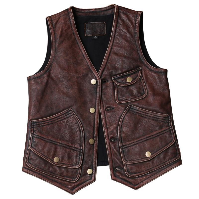 2020 Vintage Kahverengi Japonya Stili rahat deri yelek erkekler Artı boyutu 5XL hakiki inek derisi Bahar Slim Fit Kısa Leaher Yelek