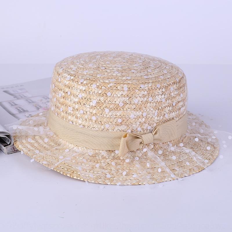 Nuovo merletto della maglia Polka dot sole paglia sole arco cappello di paglia flat top parasole estate cappello coreano stile rurale all'aperto