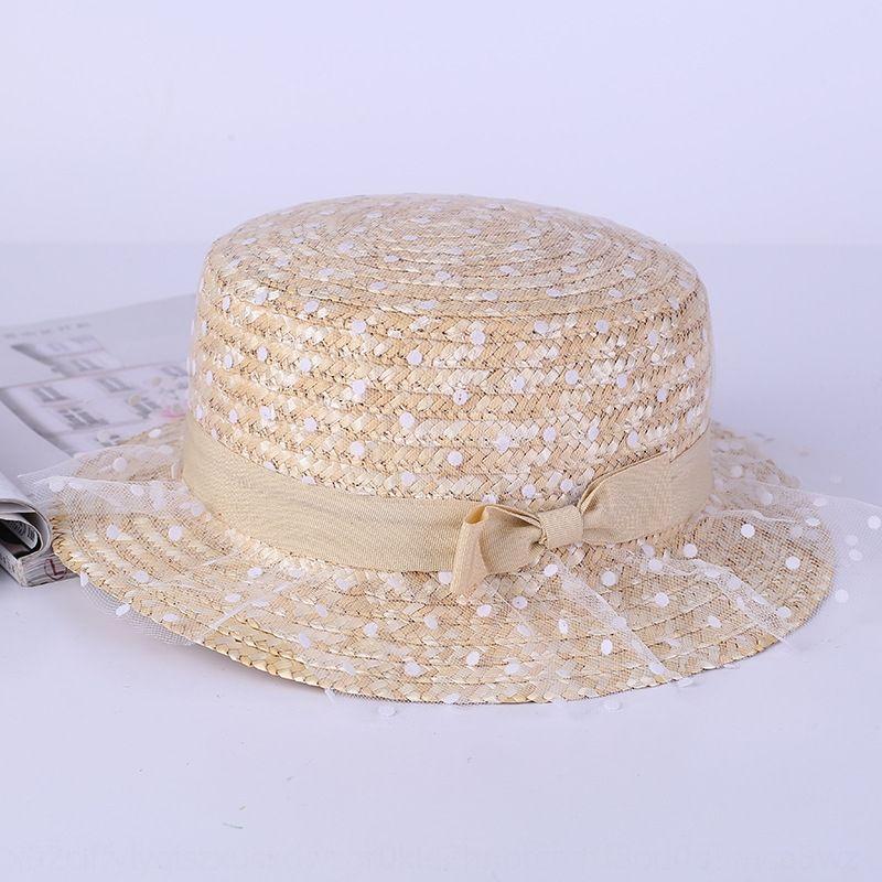 Nuevo encaje de malla polka dot sol paja paja del sol del arco superior plana sombrero de la sombrilla del sombrero del verano de Corea del estilo rural al aire libre