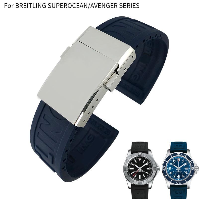 22mm Gummi-Silikon-Uhrenarmband für Breitling Avenger Series Schwarz Blau Gelb wasserdichte Tauchens-Bügel-Edelstahl-Wölbung Männer