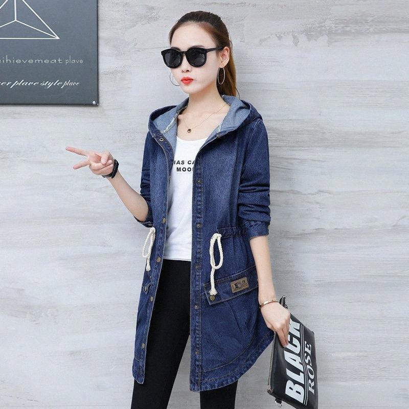 # 3317 Primavera Outono Denim Jacket Mulheres com capuz solto Plus Size Lace Up cintura assimétrica Jeans Brasão Mulheres longo elegante XXXL d0r3 #