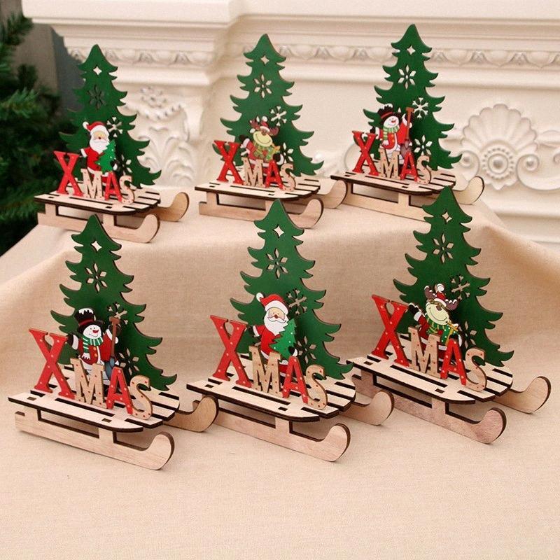 1pc Arbre de Noël Forme Pendentifs en bois bricolage Père Noël / Bonhomme de neige Arbre de Noël cerfs communs ornements Décoration de fête de Noël pour la maison d9Vf #